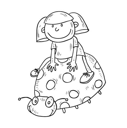lady bug: M�dchen reiten lady bug, Vektor-Illustration.