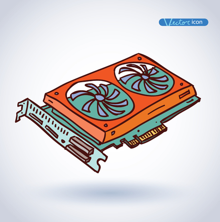 computer video card. vector illustration.
