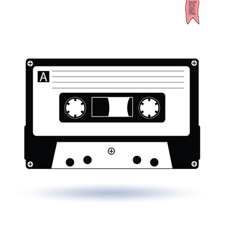 style background: Audio tape cassette record, illustration.