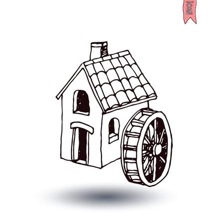 mill: water mill vector illustration.