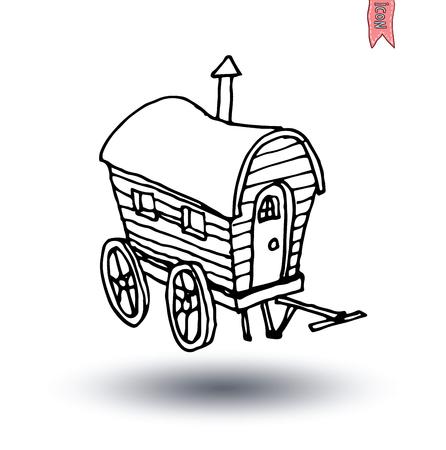 gitana: caballo icono de carro de transporte, ilustración vectorial.