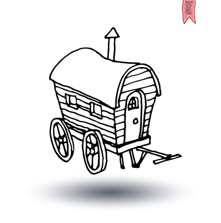 wagons: horse carriage wagon icon, vector illustration. Illustration
