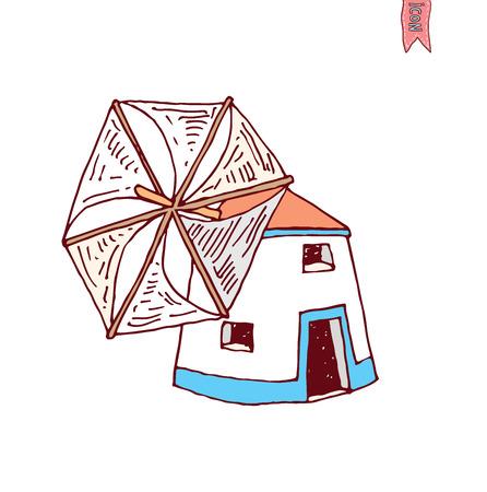 spinning windmill: Wind mill vector illustration.