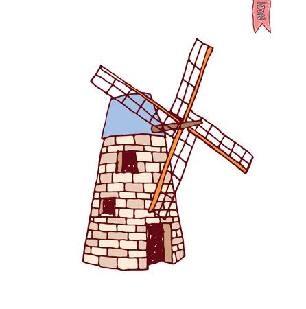 farmstead: Wind mill vector illustration.