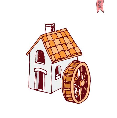 farmstead: water mill vector illustration.