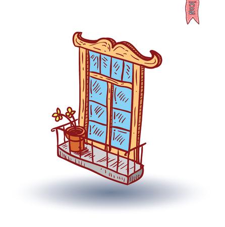 architectural styles: Window icon. Vector illustration. Illustration