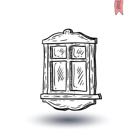 white door: Window icon. Vector illustration. Illustration