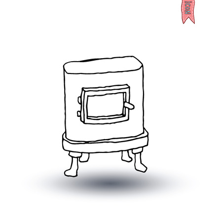 stove: Oven stove, Firewood, vector illustration
