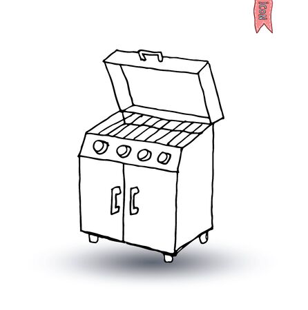 gas fireplace: barbecue, vector illustration