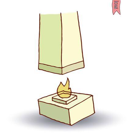 gas fireplace: fireplace, vector illustration Illustration