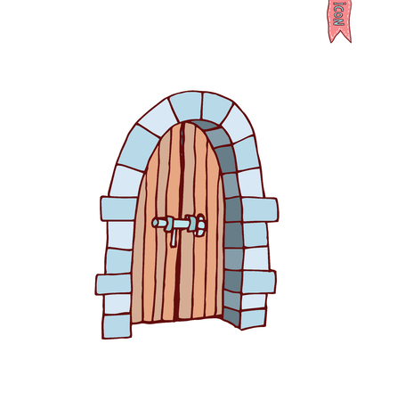 inside house: old Door icon, isolated illustration vector.