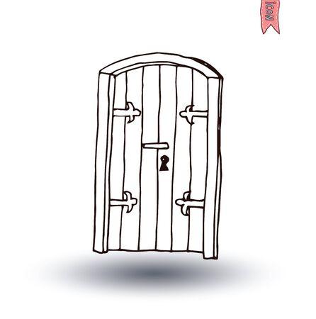 doorknob: old Door icon, isolated illustration vector.