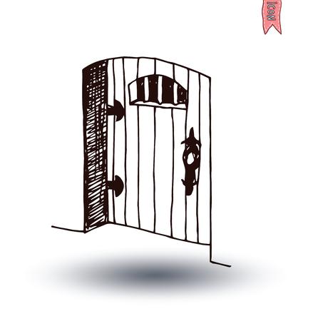 old door: old Door icon, isolated illustration vector.