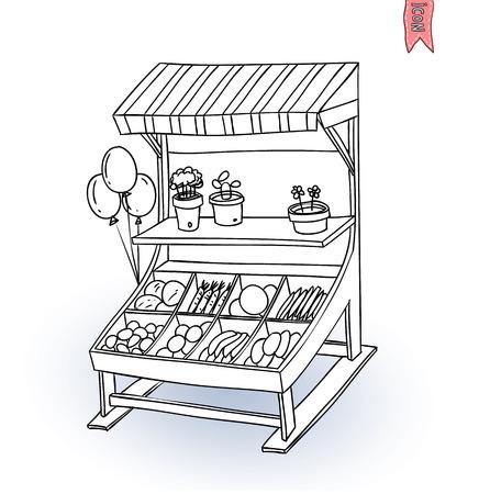 , Ilustracja owoców i warzyw stoisko wektor