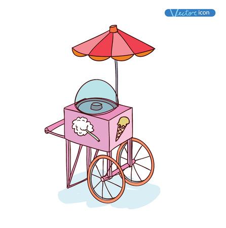ice cream cart: Ice cream cart, vector illustration