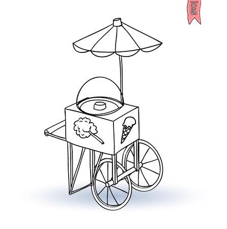 carretto gelati: Ice cream carrello, illustrazione vettoriale Vettoriali