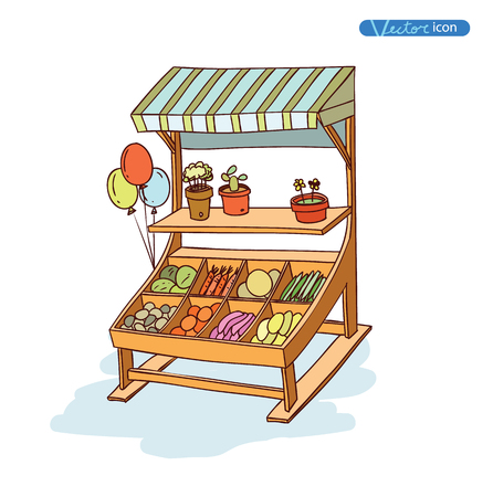 stall: Fruit and vegetable stall, vector illustration
