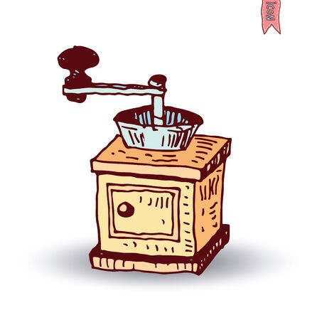 coffee grinder: Wooden coffee grinder, Vector isolated
