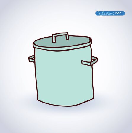 stainless steel pot: pan hand drawn vector illustration. Illustration