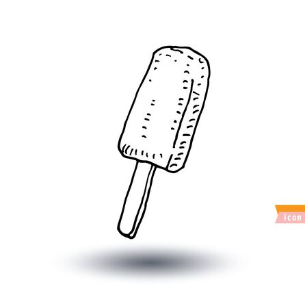 softcream: Icon of ice cream with cone, vector illustration.