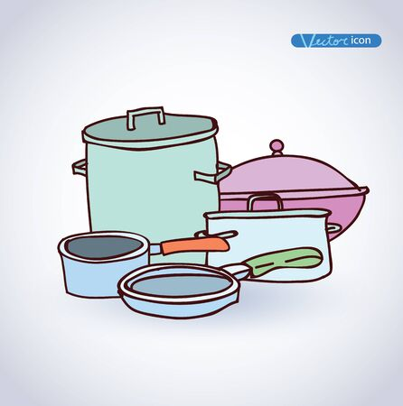 pans: pots and pans hand drawn vector illustration.