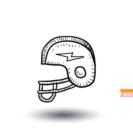 padding: American football helmet icon, Hand drawn vector illustration.