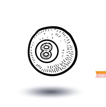 bola ocho: Billar bola ocho aislado en un fondo blanco