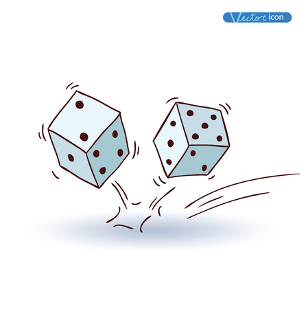 tossing: Dice icon, hand drawn vector illustration. Illustration