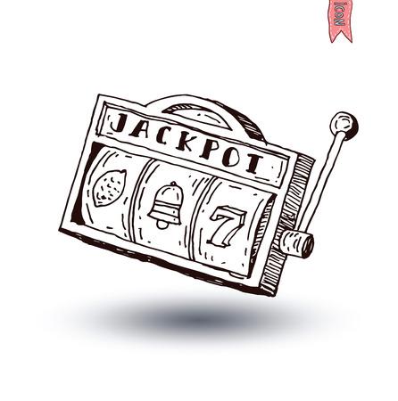 Machine à sous, dessiné à la main illustration vectorielle. Banque d'images - 44698233