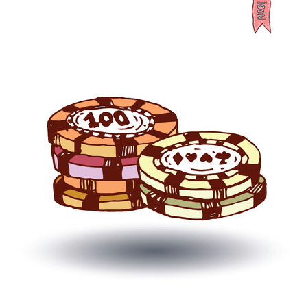 american roulette: Casino Chips, hand drawn vector illustration.