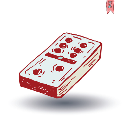dominoes: Domino icon, hand drawn vector illustration. Illustration