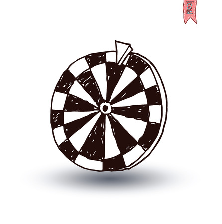luck wheel: Wheel of fortune, hand drawn vector illustration.