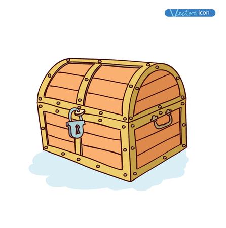 cofre del tesoro: ches de madera. Ilustraci�n del vector. Vectores