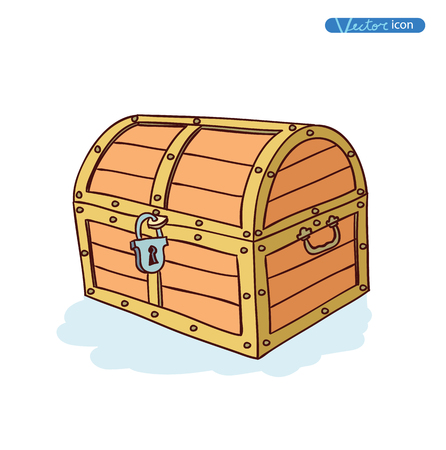 treasure chest: wooden ches. Vector Illustration.