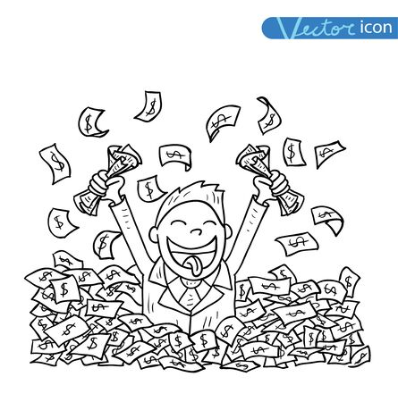 sucessful: businessman big heap of money
