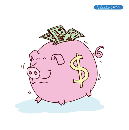 money in the hand: Fat pig Money, hand drawn vector illustration