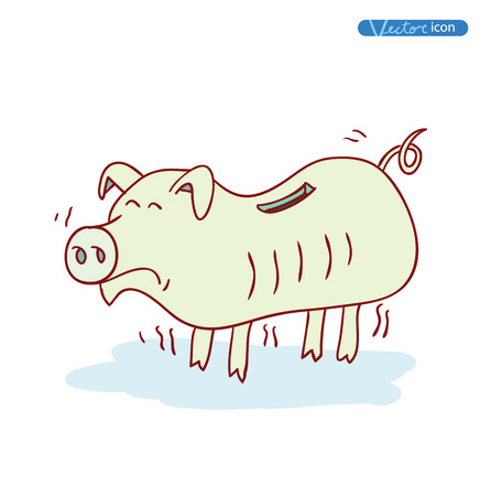 money in the hand: poor pig Money, hand drawn vector illustration Illustration