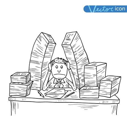 Homme d'affaires stressant dans le bureau, illustration vectorielle.