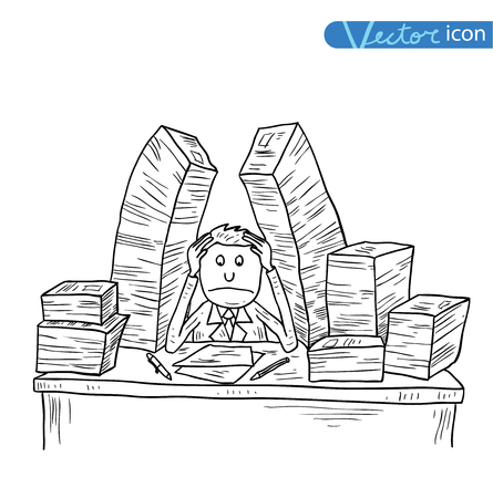 Stressful Businessman in office, vector illustration.