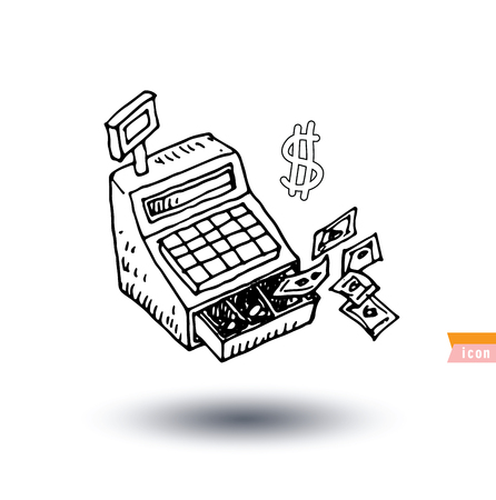 cash money: Cash Register, Money and business icon, hand drawn vector illustration Illustration