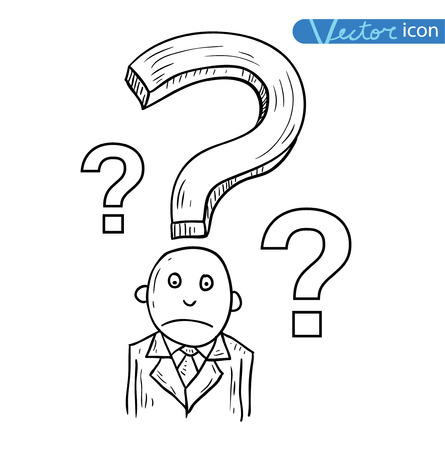 confused cartoon: Businessman confused, vector illustration. Illustration
