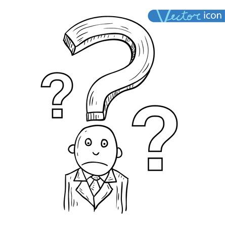 communication cartoon: Businessman confused, vector illustration. Illustration