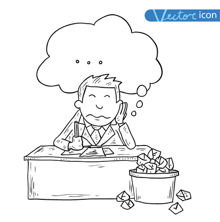 worry tension: Stressful Businessman in office, vector illustration.