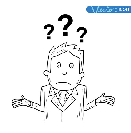 business decisions: Businessman confused, vector illustration. Illustration