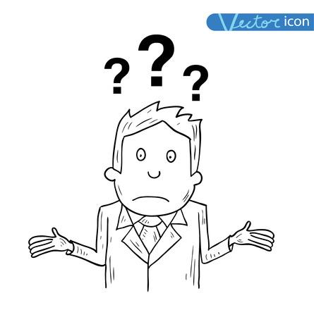 Businessman confused, vector illustration. Vettoriali
