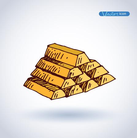 gold bars: Gold Bars icon, Hand drawn vector illustration. Illustration