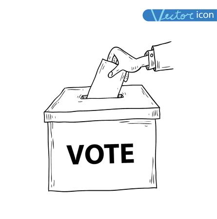 voting box: scatola di voto, illustrazione vettoriale.