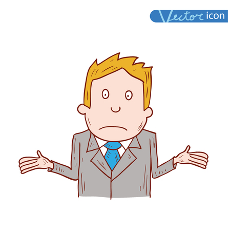 hesitate: Businessman confused, vector illustration. Illustration