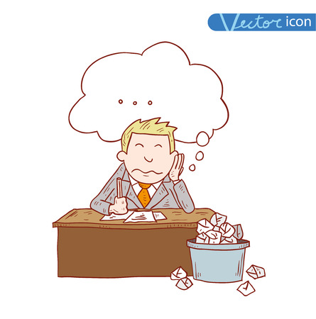 tired person: Stressful Businessman in office, vector illustration.