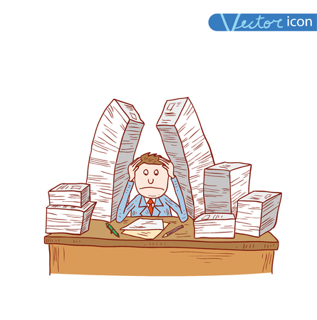 stressful: Stressful Businessman in office, vector illustration.